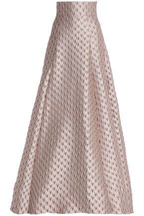 SAFIYAA Satin-jacquard wool-blend maxi skirt