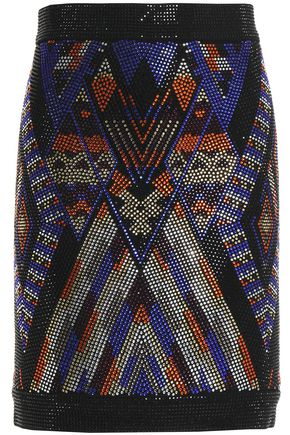 BALMAIN Crystal-embellished cady mini skirt