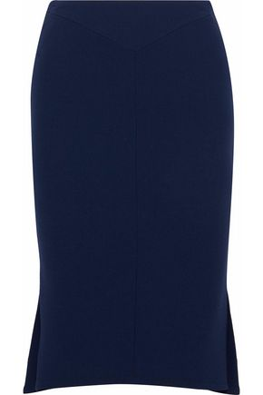 ROLAND MOURET Pleated wool-crepe skirt