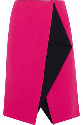 ROLAND MOURET Two-tone wool-crepe skirt
