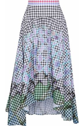 PETER PILOTTO Asymmetric printed stretch-cotton poplin midi skirt
