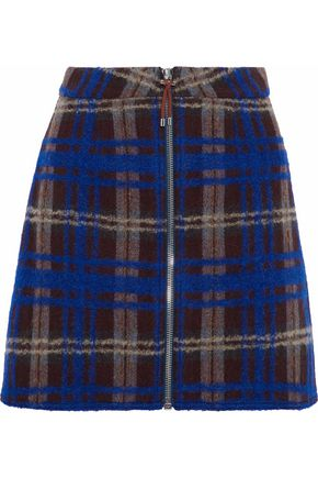 ACNE STUDIOS Plaid intarsia wool-blend mini skirt