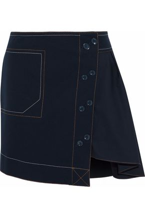 DEREK LAM 10 CROSBY Asymmetric cotton-blend twill mini skirt