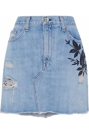 RAG & BONE/JEAN Embroidered distressed denim mini skirt