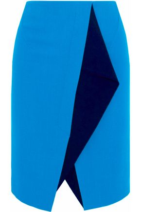 ROLAND MOURET Paneled wool-crepe skirt