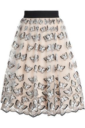 ALICE + OLIVIA Embroidered pleated tulle skirt
