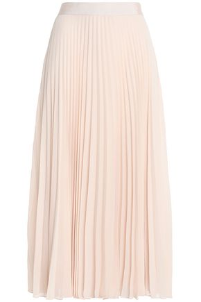 ALICE + OLIVIA Grosgrain-trimmed pleated georgette midi skirt