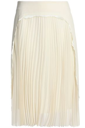 MAISON MARGIELA Pleated paneled distressed stretch-wool crepe skirt