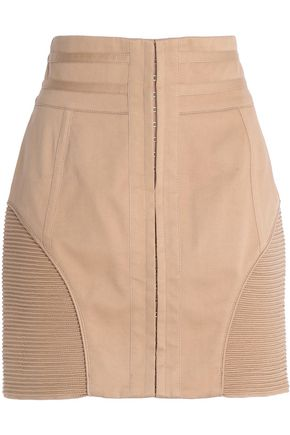 BALMAIN Ribbed-paneled stretch-cotton mini skirt