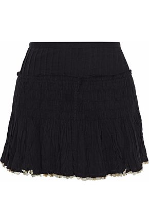 LOVESHACKFANCY Camilla sequin-trimmed crinkled cotton-gauze mini skirt