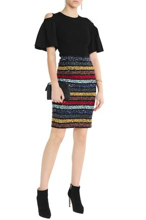 ALICE + OLIVIA Striped sequinned skirt