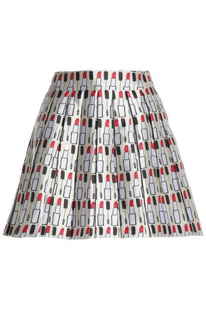 ALICE + OLIVIA Pleated printed twill mini skirt