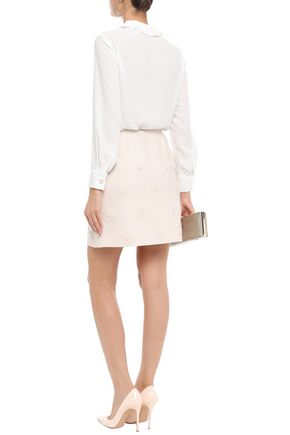 VALENTINO Floral-appliquéd wool and silk-blend crepe mini skirt