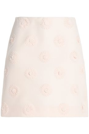 VALENTINO Floral-appliquéd wool and silk-blend mini skirt