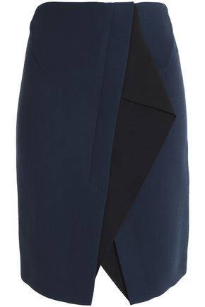 ROLAND MOURET Paneled wool-crepe skirt