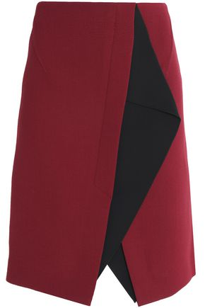 ROLAND MOURET Bantam two-tone wool-crepe skirt