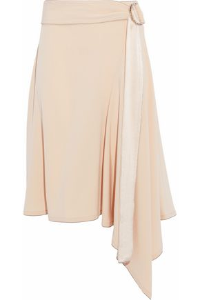 DEREK LAM 10 CROSBY Belted satin-trimmed crepe skirt