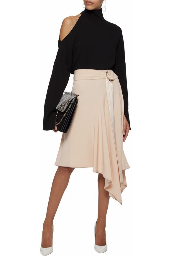 Belted satin-trimmed crepe skirt | DEREK LAM 10 CROSBY | Sale up to 70% off  | THE OUTNET