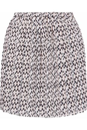 ISABEL MARANT ÉTOILE Pleated printed crepe de chine mini skirt