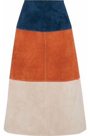 DEREK LAM Color-block suede midi skirt