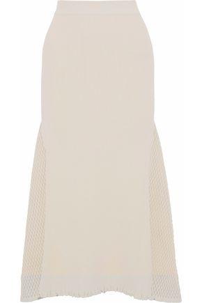 DEREK LAM Open knit-paneled ribbed-knit midi skirt