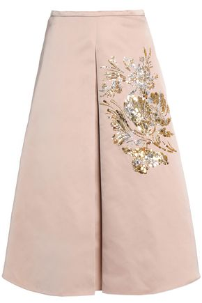 ROCHAS Embellished pleated sateen midi skirt