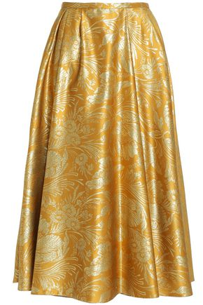 ROCHAS Pleated silk-blend jacquard midi skirt
