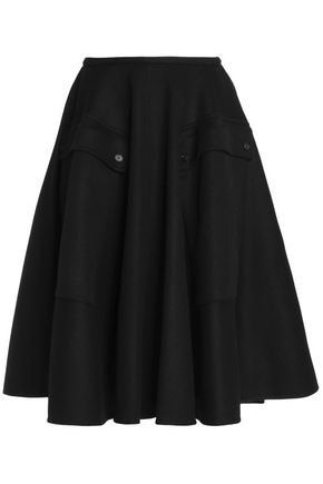 ROCHAS Pleated wool and angora-blend skirt