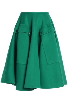ROCHAS Pleated wool and angora-blend midi skirt