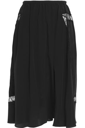 ROCHAS Lace-paneled pleated silk midi skirt