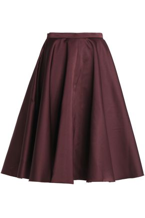 ROCHAS Pleated duchesse-satin skirt