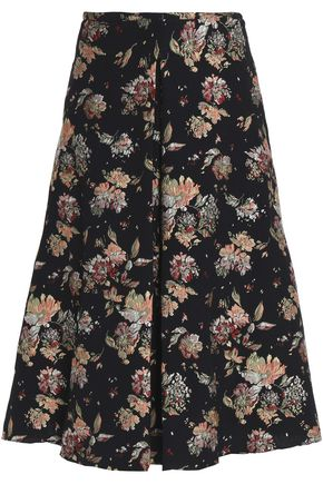 ROCHAS Pleated brocade midi skirt