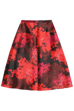 ROCHAS Pleated printed wool and silk-blend midi skirt