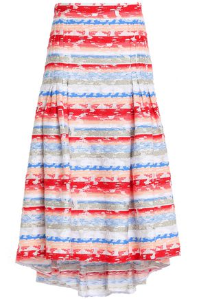 PETER PILOTTO Striped cotton-blend midi skirt