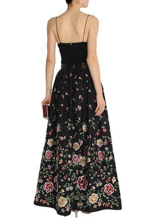 ALICE + OLIVIA Studded embroidered poplin maxi skirt