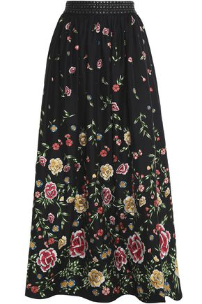 ALICE + OLIVIA Studded embroidered poplin maxi skirt