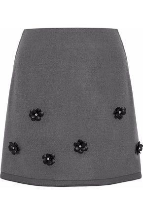 RAOUL Embellished felt mini skirt