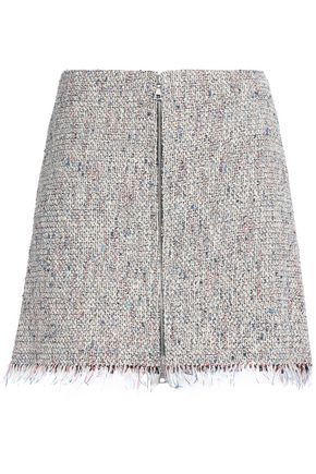 THEORY Frayed cotton-blend tweed mini skirt