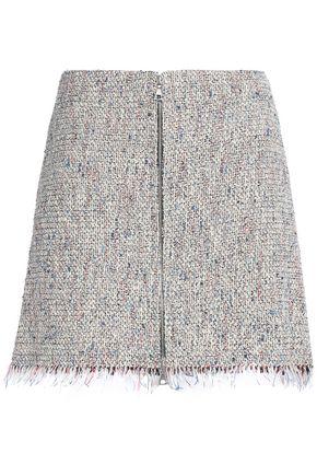 THEORY Frayed cotton-blend tweed mini skirt