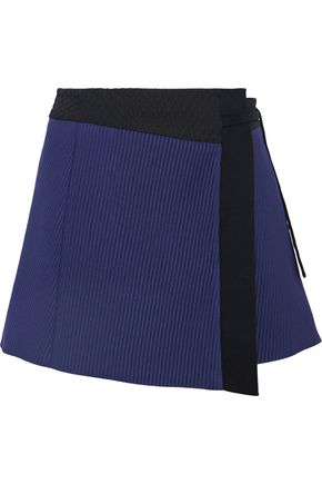 M MISSONI Cady-trimmed two-tone cloqué wrap mini skirt
