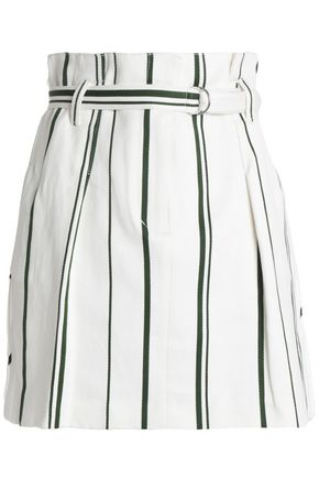 3.1 PHILLIP LIM Belted striped cotton and linen-blend mini skirt