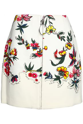 3.1 PHILLIP LIM Embellished embroidered floral-print cotton-blend mini skirt