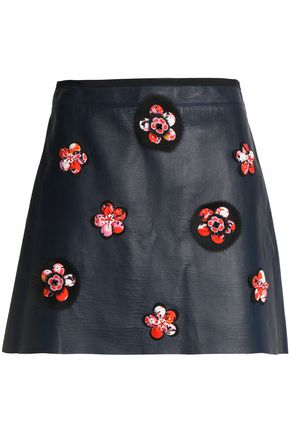 VICTORIA, VICTORIA BECKHAM Appliquéd leather mini skirt