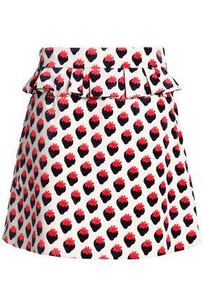 VICTORIA, VICTORIA BECKHAM Ruffled jacquard mini skirt