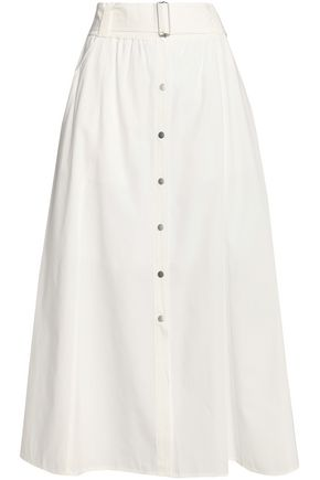 A.L.C. Belted cotton-blend midi skirt