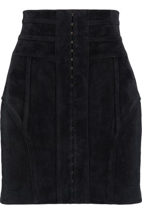 BALMAIN Rib-paneled embellished suede mini skirt