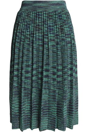 M MISSONI Pleated metallic crochet-knit skirt