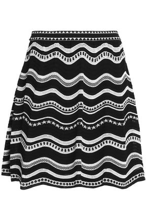 M MISSONI Flared crochet-knit cotton-blend mini skirt