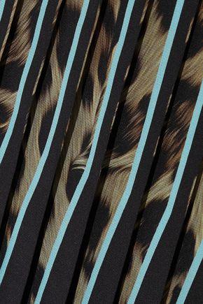 ROBERTO CAVALLI Pleated leopard-print silk crepe de chine mini skirt