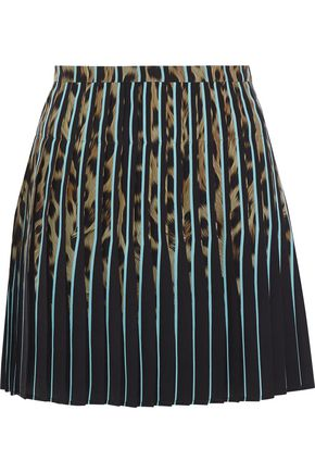 ROBERTO CAVALLI Pleated leopard-print silk crepe de chine mini skirt